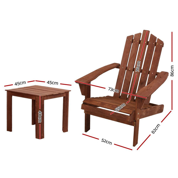 2 Piece Outdoor Sun Lounger Beach Chair and Table Setting-Brown-Free Shipping
