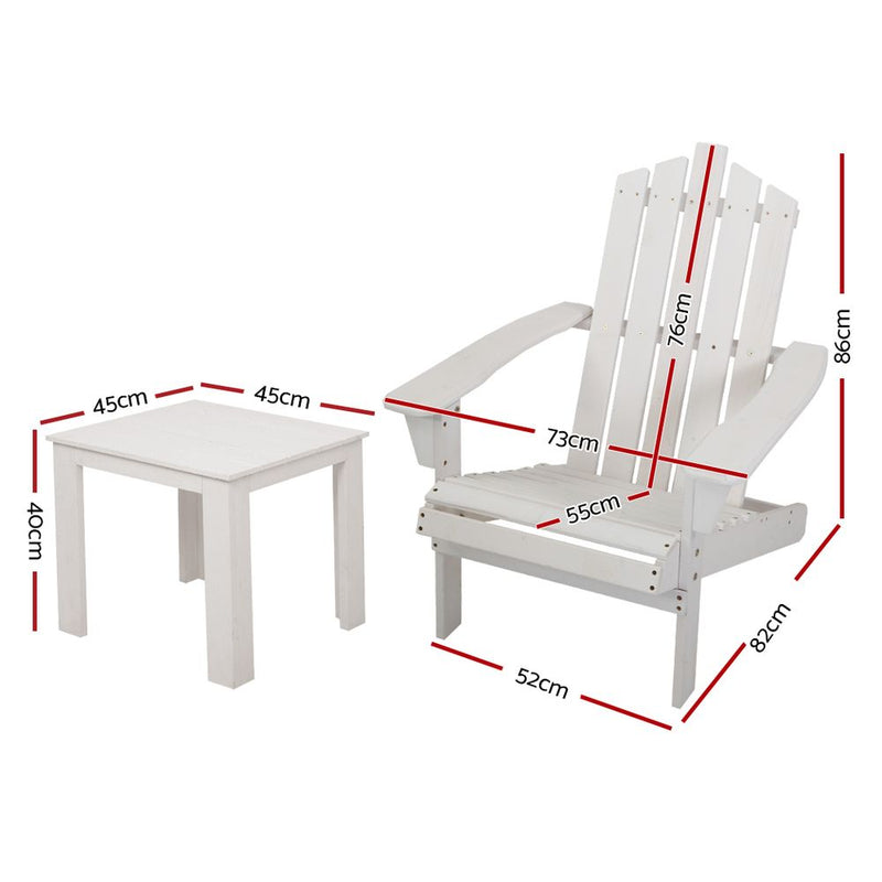 2 Piece Outdoor Sun Lounger Beach Chair and Table Setting-WHITE-FREE SHIPPING