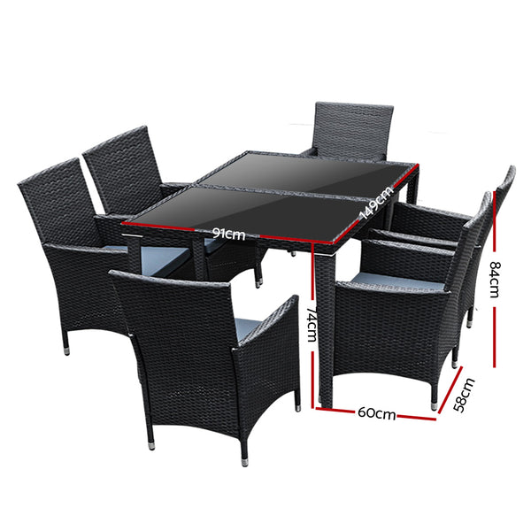 7 Piece Outdoor Dining Set-Black Wicker-Grey Cushions-FREE SHIPPING