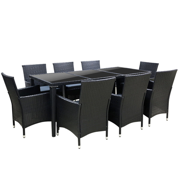9 Piece Outdoor Dining Set-Black Wicker-FREE SHIPPING