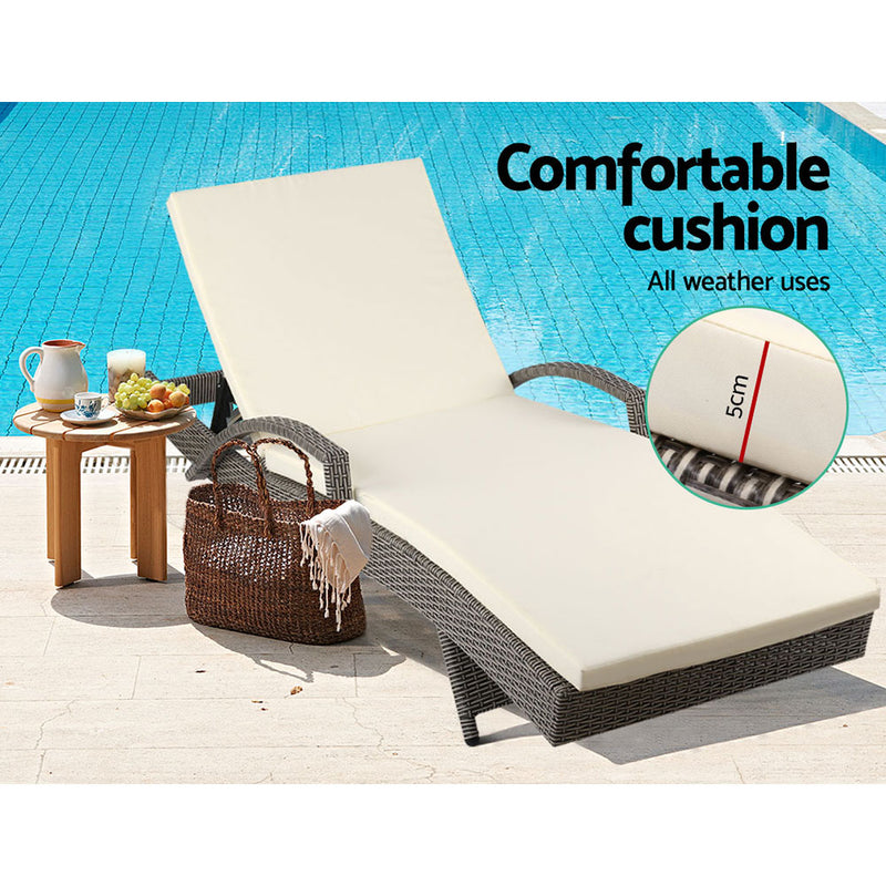 Outdoor Sun Lounger with Grey Cushion-FREE SHIPPING