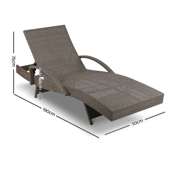 Set of 2 Outdoor Sun Lounger Chairs with Grey Cushions-FREE SHIPPING