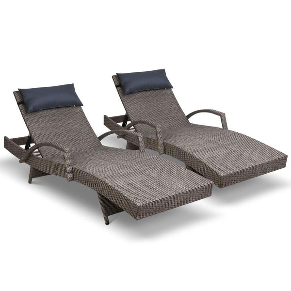 Gardeon Sun Lounge Outdoor Furniture Wicker Lounger Rattan Day Bed Garden Patio Grey