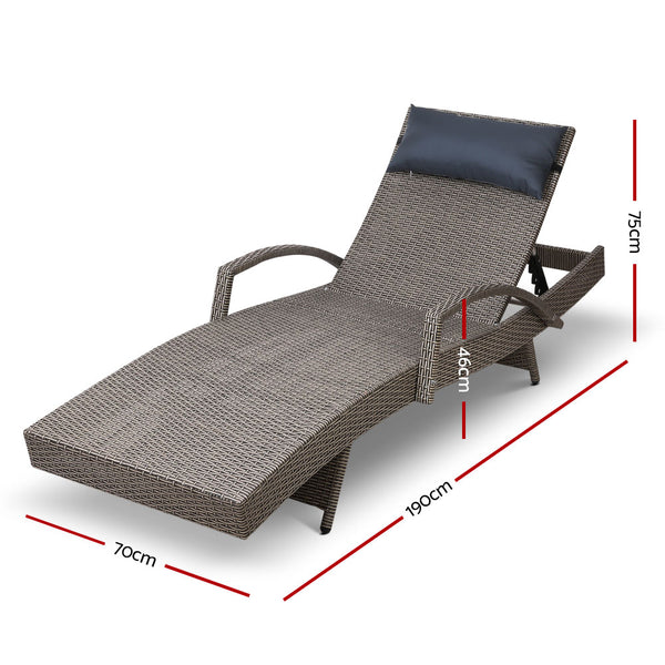 Set of 2 Sun Lounger Day Beds-Grey-FREE SHIPPING