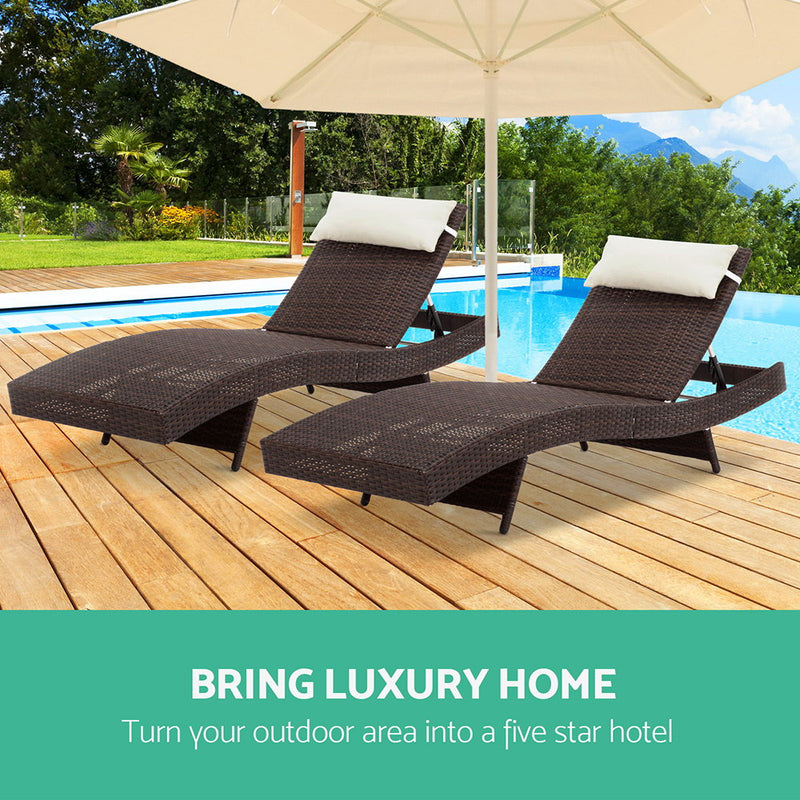 Set of 2 Outdoor Wicker Sun Loungers-Brown-FREE SHIPPING