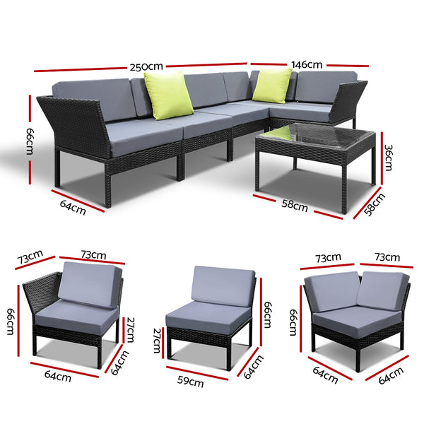 6 Piece Wicker Outdoor Sofa Set-FREE SHIPPING