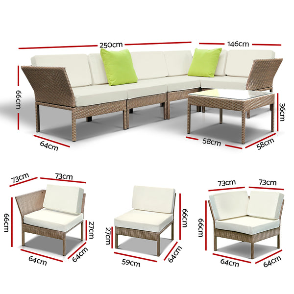 6 Piece Outdoor Sofa Lounge Setting-Wicker-Beige-FREE SHIPPING