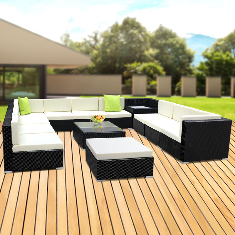 13 Piece Sofa Set with Storage Cover-Outdoor Furniture-Wicker-FREE SHIPPING