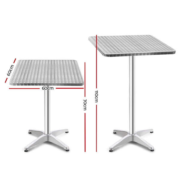 60cm x 60cm Square Bar Table-Outdoor-Adjustable Height-Aluminium-FREE SHIPPING