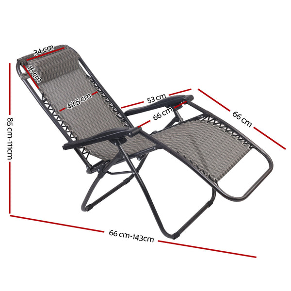 Outdoor Portable Recliner Sunlounger-Grey-FREE SHIPPING