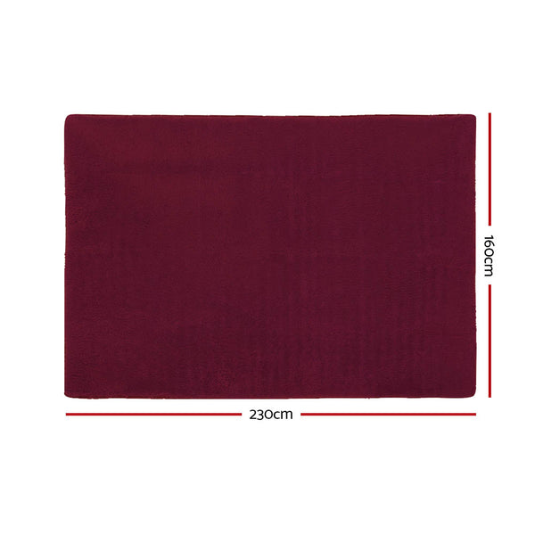 160cm x 230cm Floor Rug-Ultra Soft Shaggy-BURGUNDY-FREE SHIPPING