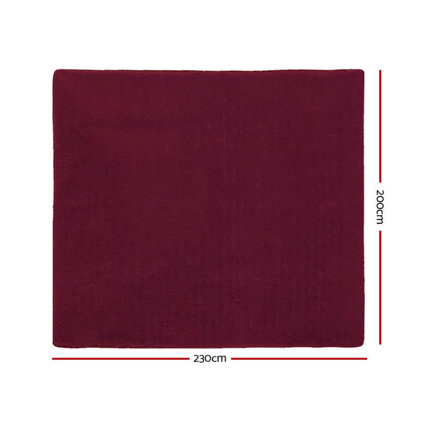 200cm x 230cm Ultra Soft Shaggy Rug-Burgundy-FREE SHIPPING