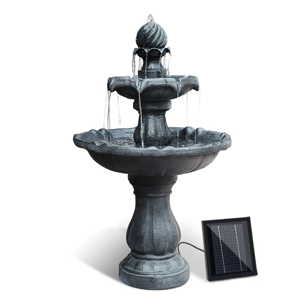 93CM HIGH-3 Tier Solar Powered Water Fountain-Black-FREE SHIPPING