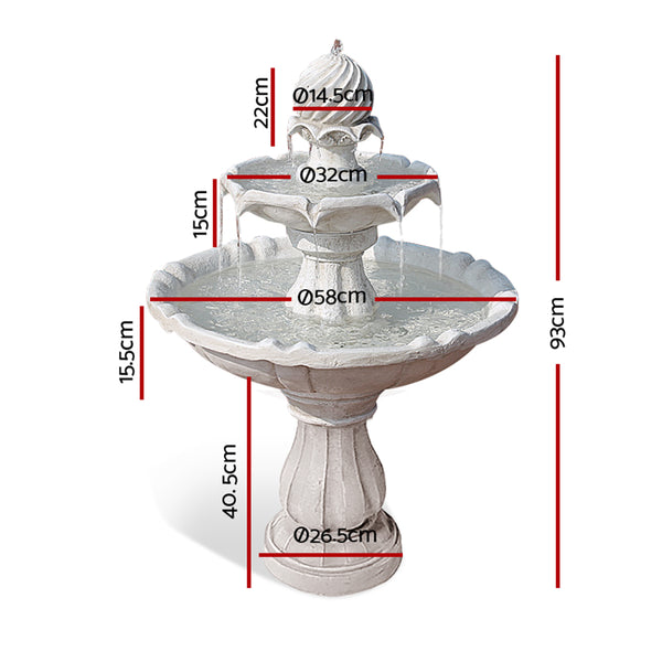 90cm High, 3 Tier Solar Powered Water Fountain - Ivory-FREE SHIPPING