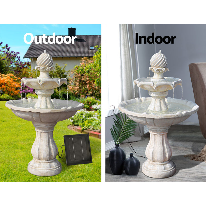 93cm High, 3 Tier Solar Powered Water Fountain-Ivory-FREE SHIPPING