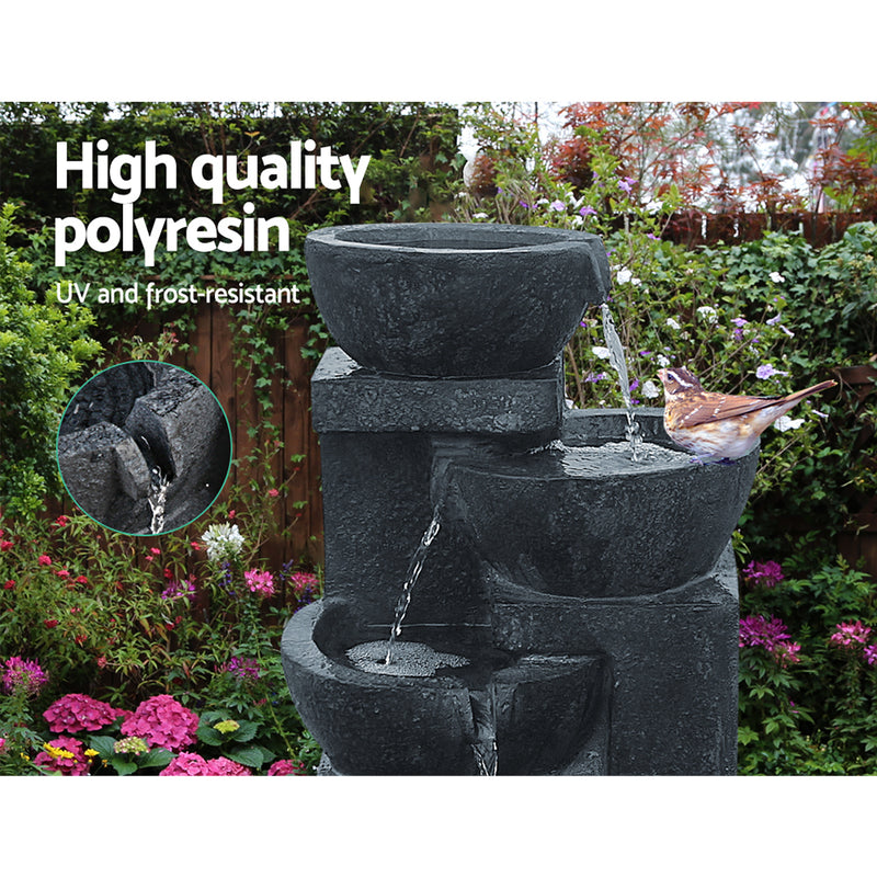 72CM HIGH-4 Tier Solar Powered Water Fountain with Light-Blue-FREE SHIPPING