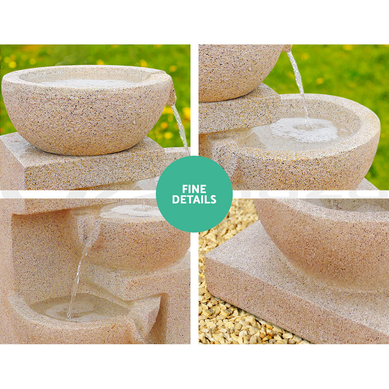 72cm High 4 Tier Solar Powered Water Fountain with Light-Sand Beige-FREE SHIPPING