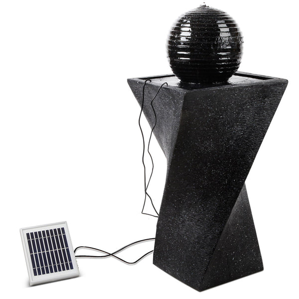 85CM HIGH-Solar Powered Water Fountain-Twist Design with Lights-FREE SHIPPING