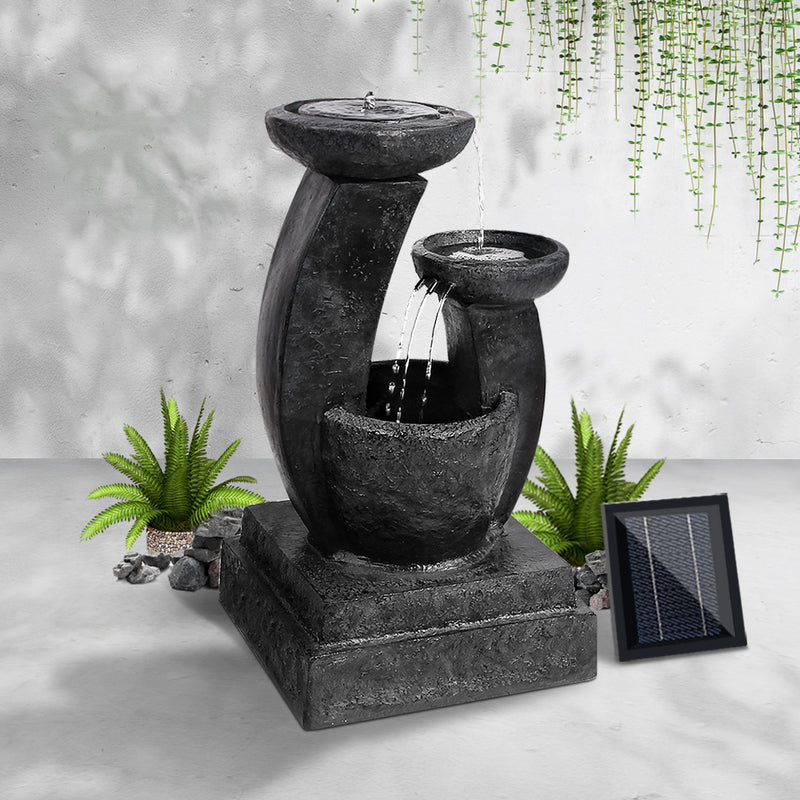 70CM HIGH-3 Tier Solar Powered Water Fountain with Light-Blue-FREE SHIPPING