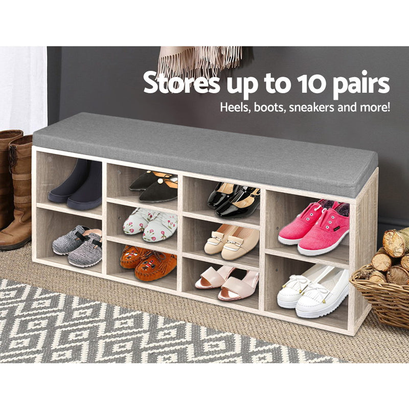 102cm Wooden Shoe Rack with Bench Seat and Storage-FREE SHIPPING