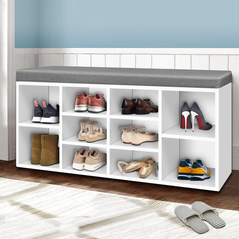 102cm Fabric Shoe Rack and Bench Seat-White-FREE SHIPPING