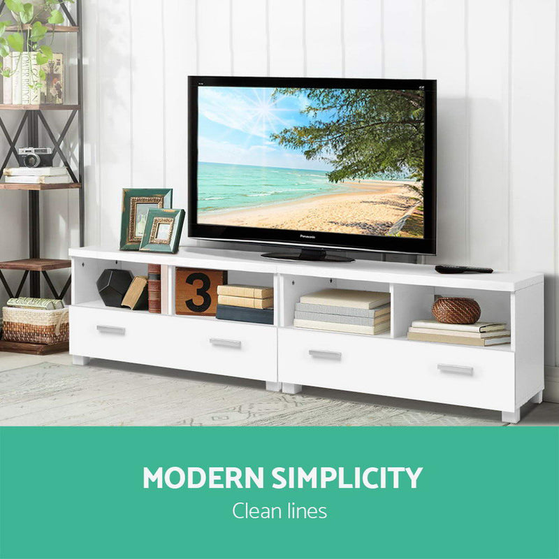180cm TV Entertainment Unit with Drawers-White-FREE SHIPPING