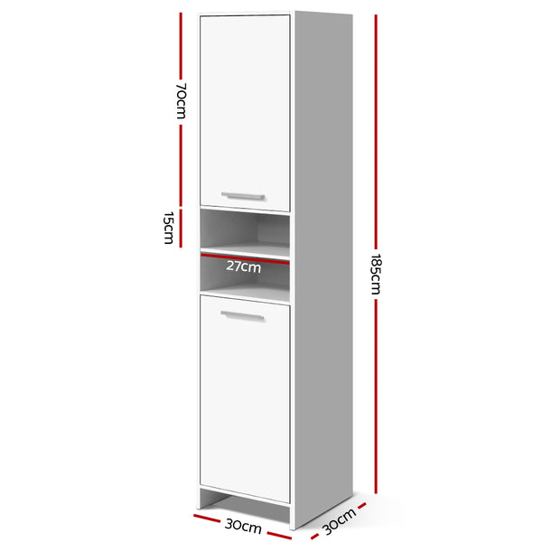 185cm High Bathroom Tallboy-Storage Cabinet-Adjustable Shelf-White-FREE SHIPPING
