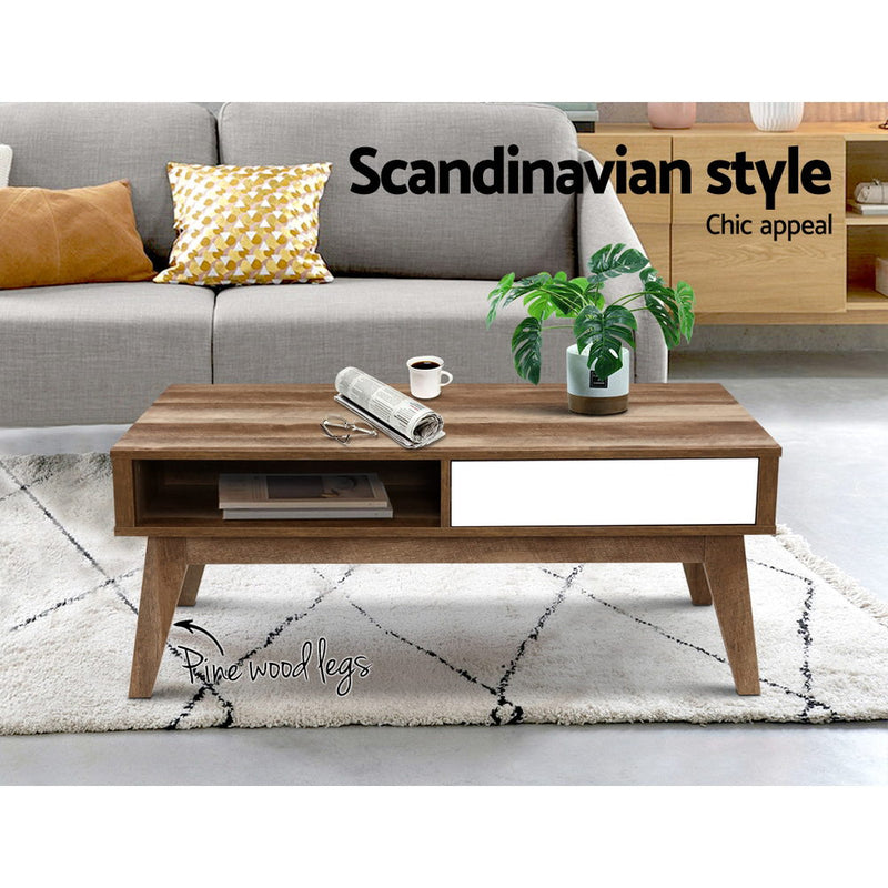 95cm 2 Drawer Coffee Table-Open Shelf-Scandinavian-White and Brown-FREE SHIPPING