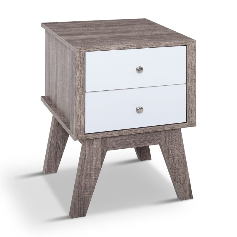 Budget Bedside Table with 2 Drawers-58cm High-FREE SHIPPING