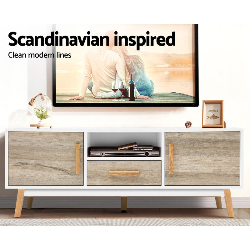120cm Wooden Entertainment Unit-White-FREE SHIPPING
