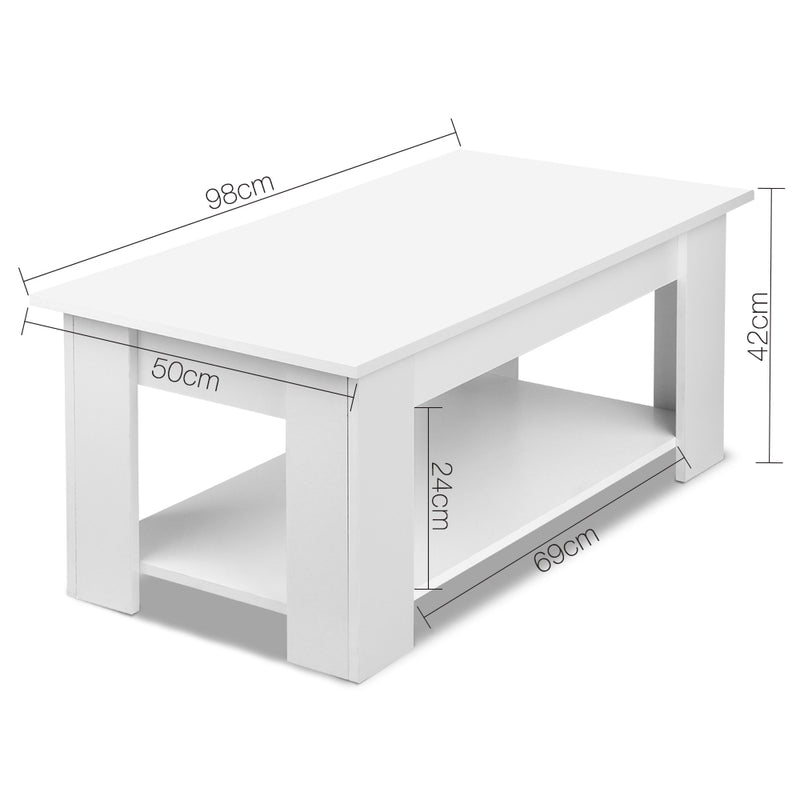 98cm Lift Up Top Coffee Table-White-FREE SHIPPING