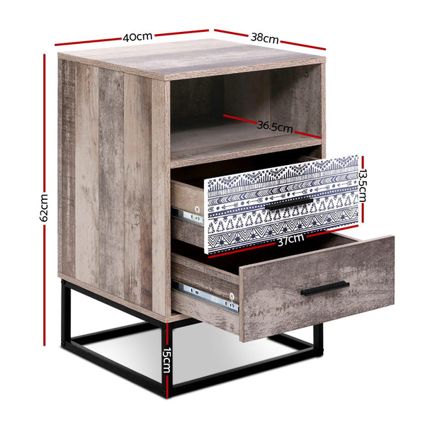 2 Drawers 1 Shelf Bedside Table-62cm High-FREE SHIPPING