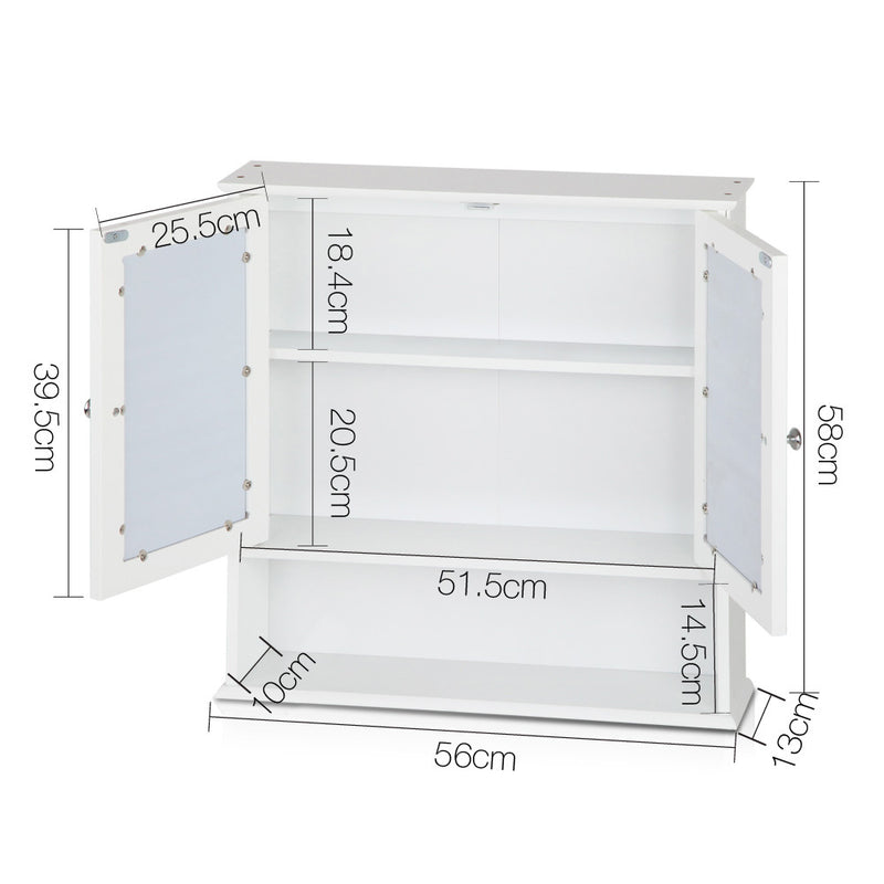 Bathroom Storage Cabinet with Mirror-White-56cm Wide-FREE SHIPPING