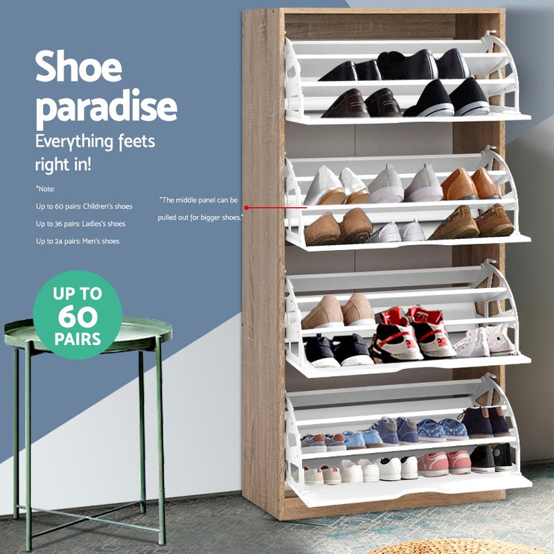 Up to 60 Pairs, 4 Compartment Shoe Organiser Cabinet-FREE SHIPPING