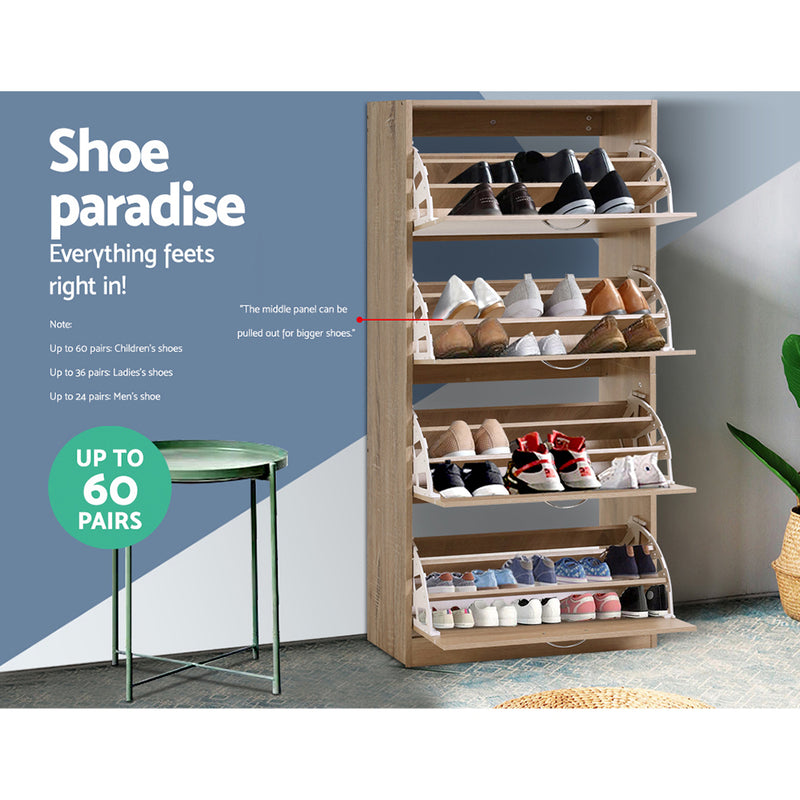 160cm 4 Compartment Shoe Cabinet Organizer for up to 60 Pairs-FREE SHIPPING