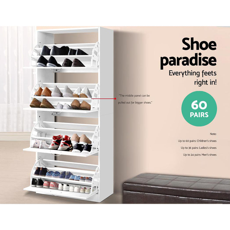 4 Compartment, Up to 60 Pairs, Shoe Organiser Cabinet-FREE SHIPPING