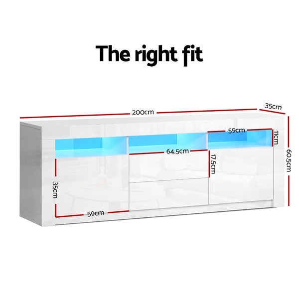 200CM TV Entertainment Unit-LED Lights-High Gloss-White-FREE SHIPPING