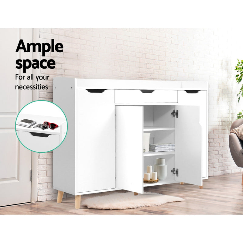 120cm Shoe Cabinet-White-FREE SHIPPING