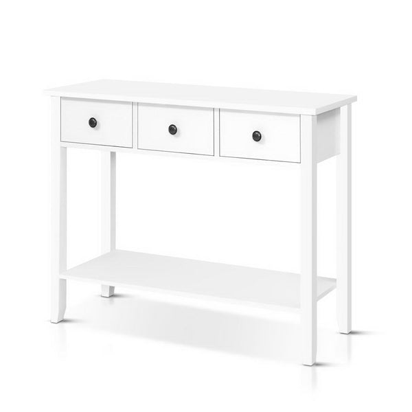 100cm Wide Hallway Console Table-3 Drawers-White-FREE SHIPPING