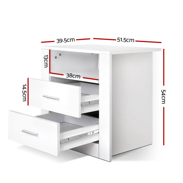 2 Drawer Bedside Table-White-54cm High-FREE SHIPPING