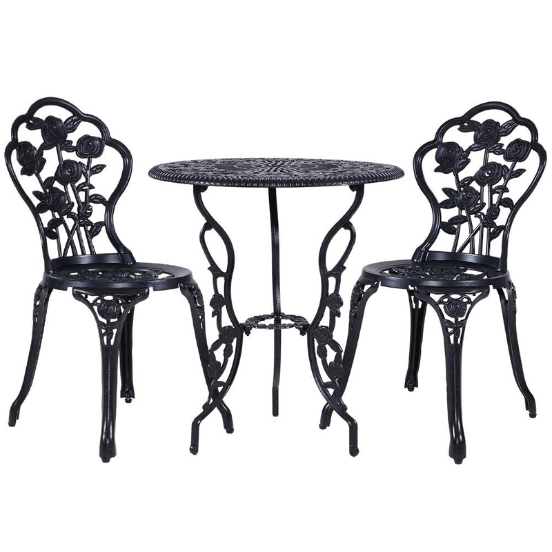Gardeon 3PC Outdoor Setting Cast Aluminium Bistro Table Chair Patio Black