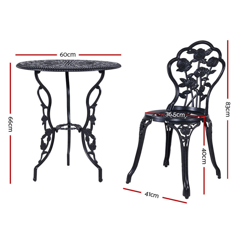 3 Piece Outdoor Setting-Cast Aluminium-Bistro Table and Chair Patio Set-Black-FREE SHIPPING