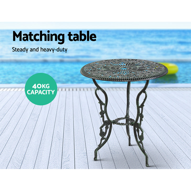 3 Piece Outdoor Furniture Chairs and Table Set-Aluminium-Green-FREE SHIPPING
