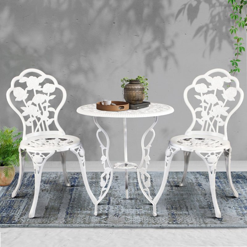 3 Piece Cast Aluminium Outdoor Chair and Table Set-White-FREE SHIPPING