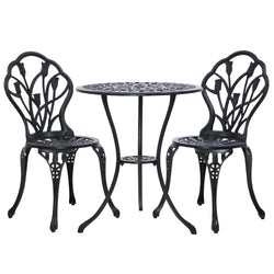 3 Piece Outdoor Setting-Cast Aluminium-Black-FREE SHIPPING