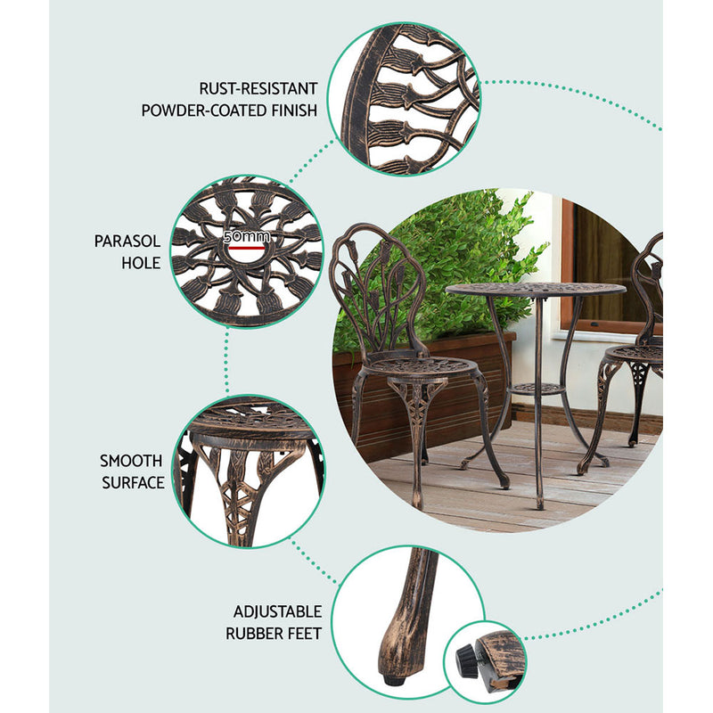 3 Piece Outdoor Setting-Cast Aluminium-Bronze Colour-FREE SHIPPING