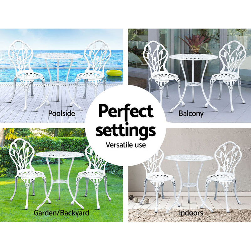3 Piece Outdoor Setting-Cast Aluminium-Bistro Table and Chair Patio Set-White-FREE SHIPPING