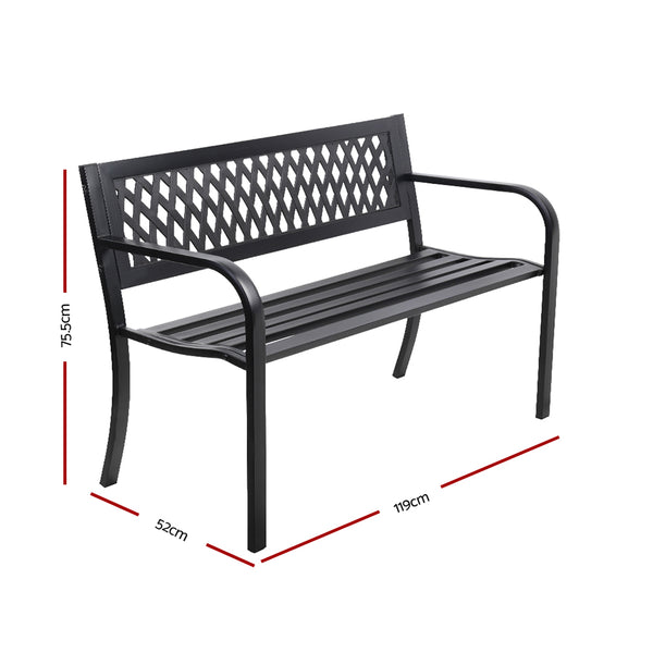 Cast Iron Modern Garden Bench-Black-FREE SHIPPING