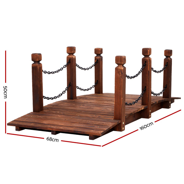 Garden Rustic Timber Chain Bridge-160cm Length-FREE SHIPPING