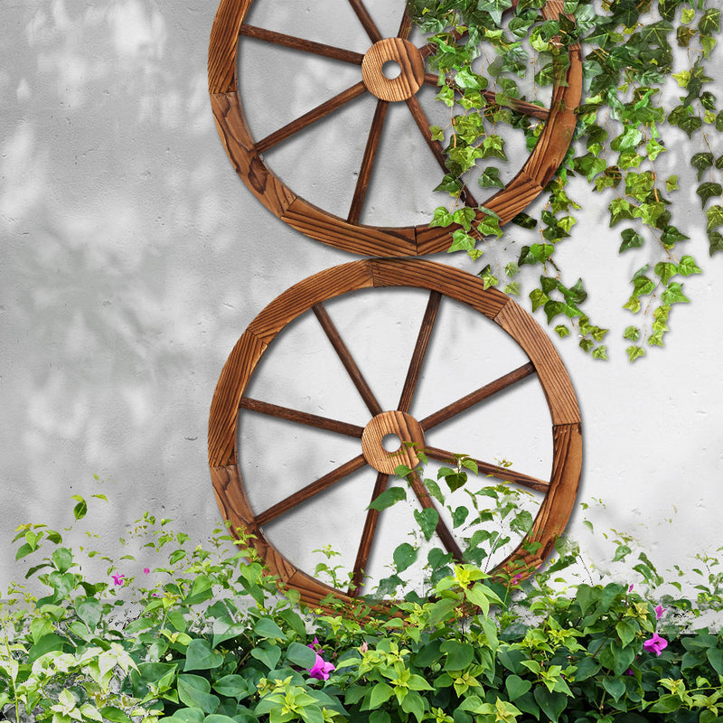 Set of 2 Wooden Wagon Wheels-FREE SHIPPPING